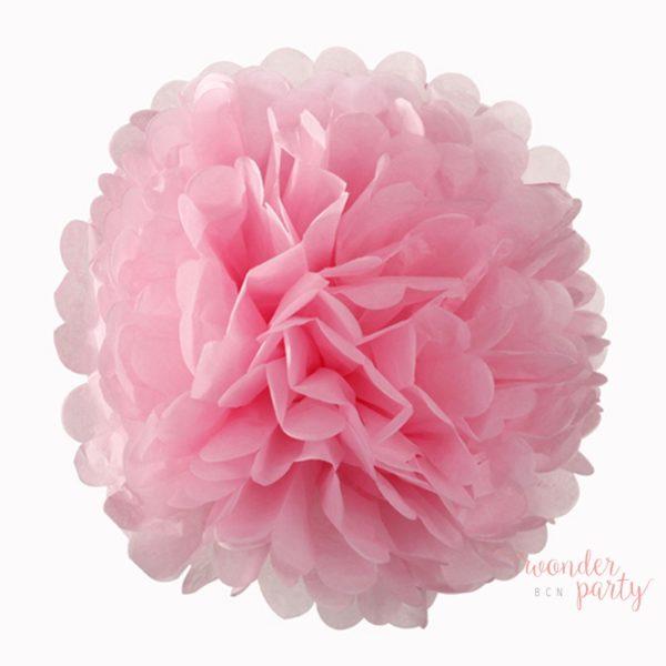 mini pompón de papel rosa