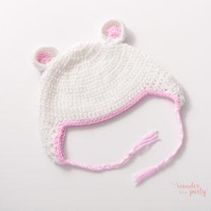 Gorro ganchillo para bebé blanco y rosa