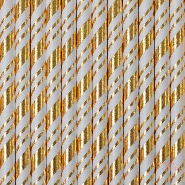 Pajitas de papel blancas y doble dorado