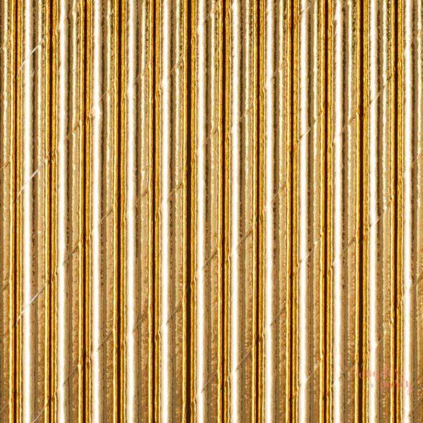 Pajitas doradas de papel