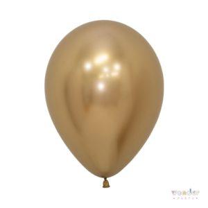 Pack globos látex Reflex dorado 10 unidades
