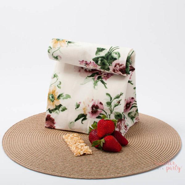 bolsa de tela para almuerzo flores