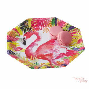 platos de papel tropical flamingo