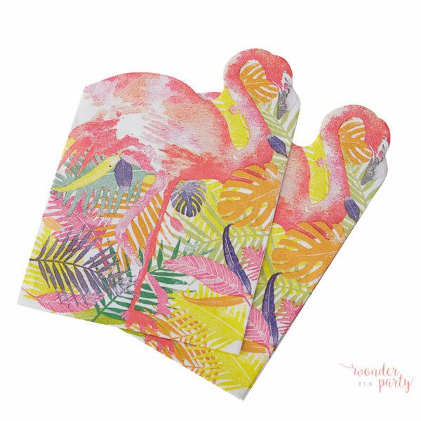 Servilletas de papel tropical flamingo para fiestas tropicales
