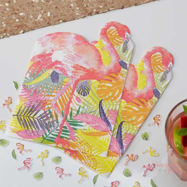 Servilletas de papel tropical flamingo para fiestas