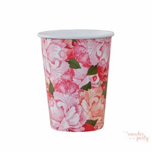 vasos de papel boho flores