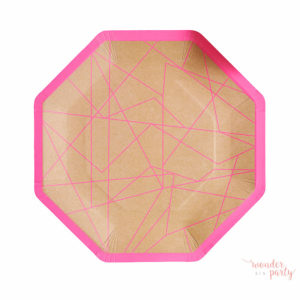 platos de papel geometric neon