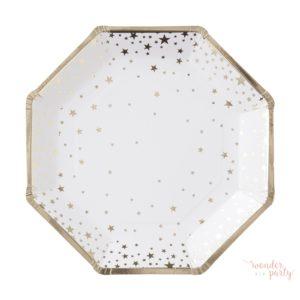 Platos de papel estrellas doradas