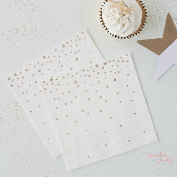 Servilletas de papel estrellas doradas para fiestas