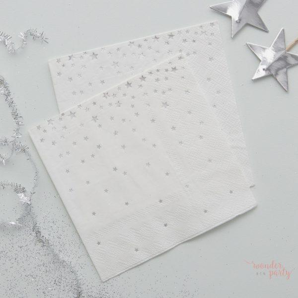 Servilletas de papel estrellas plateadas