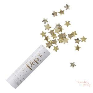 Cañon confetti estrellas doradas