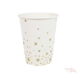 Vasos de papel estrellas doradas