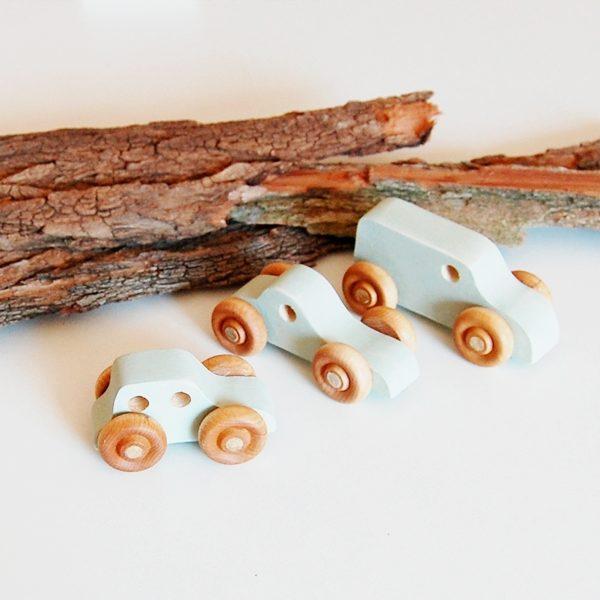 Set de 3 coches madera