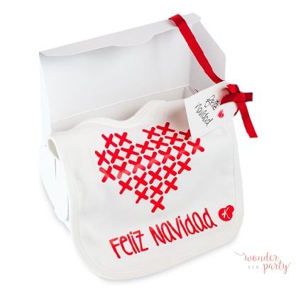 Babero algodon organico cajita regalo Feliz Navidad Wonder Party bcn