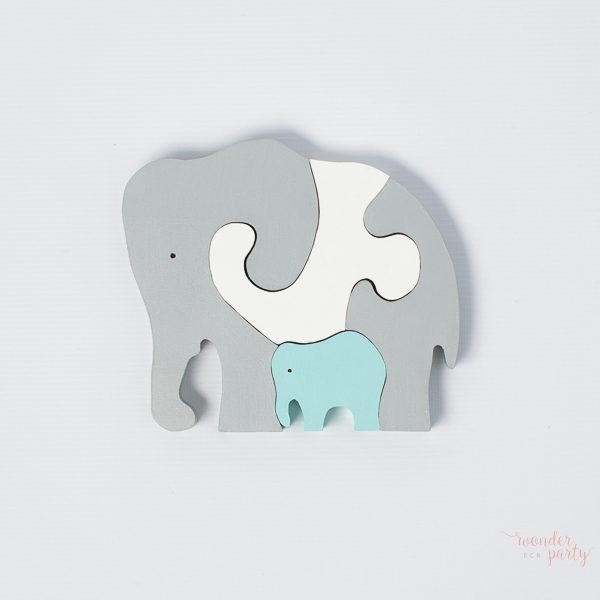 Puzle elefantes en madera en rosa y celeste Wonder Party bcn