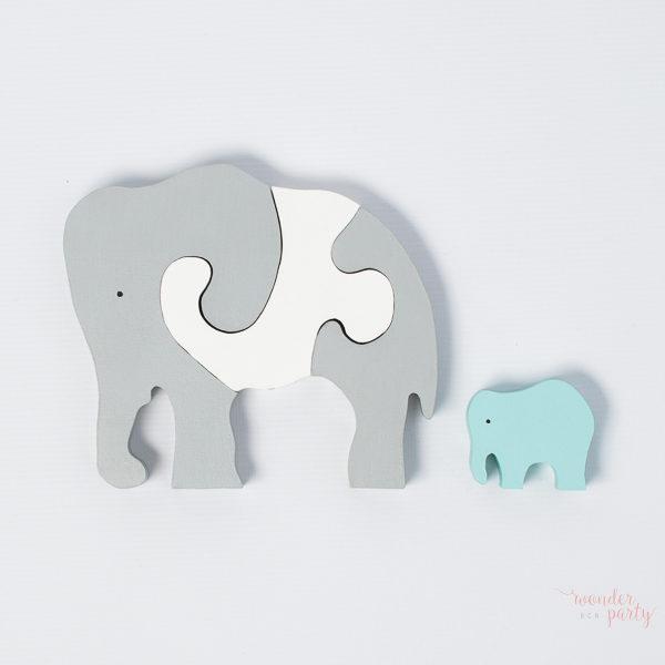 Puzle elefantes en madera rosa o celeste