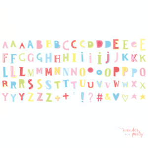 Set de letras lightbox Funky colour