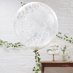 3 Globos gigantes confetti blanco