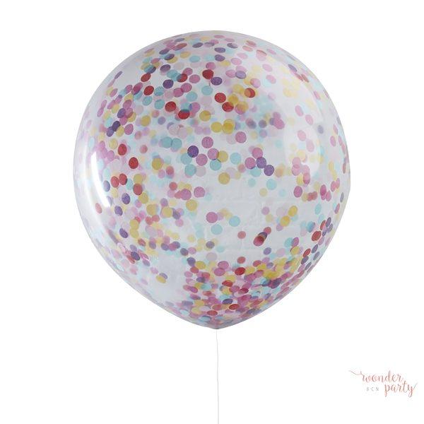 3 Globos gigantes confetti colores látex para fiestas Wonder Party barcelona