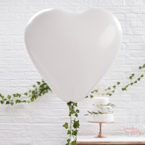 3 Globos gigantes corazón blanco
