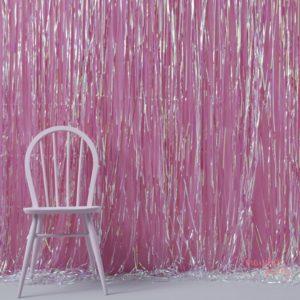 Cortina de foil flecos iridiscente tornasolado para photocall para fiestas