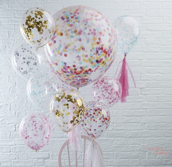 Globos gigantes confetti colores látex para fiestas Wonder Party barcelona