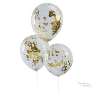 Globos transparentes con confetti dorado