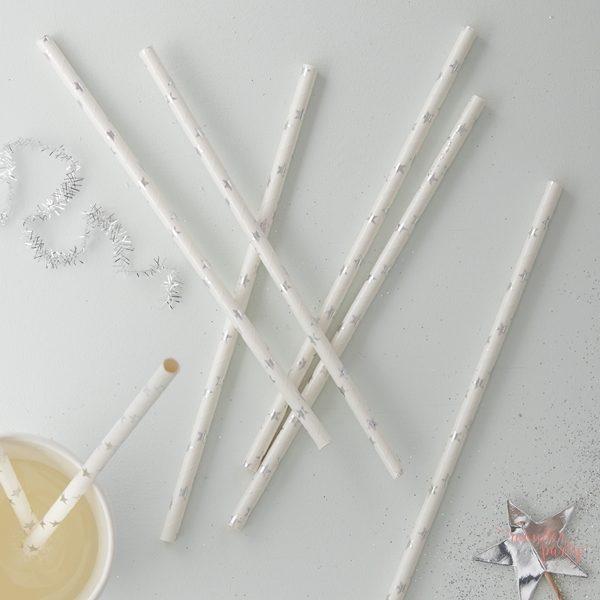 Pajitas de papel estrellitas plateadas plata para fiestas