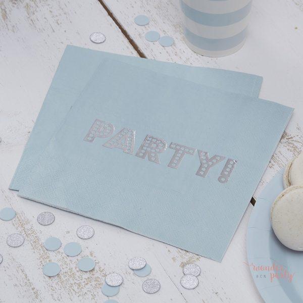 Servilletas de papel celeste y plateado plata azul claro para fiestas Wonder Party Barcelona