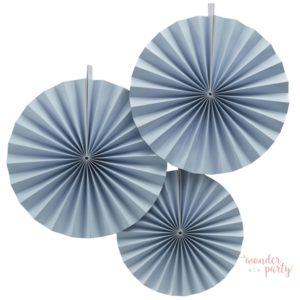 Set de 3 abanicos azul claro