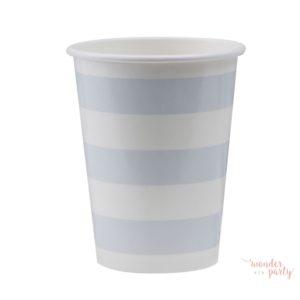 Vasos de papel rayas celestes y blancas
