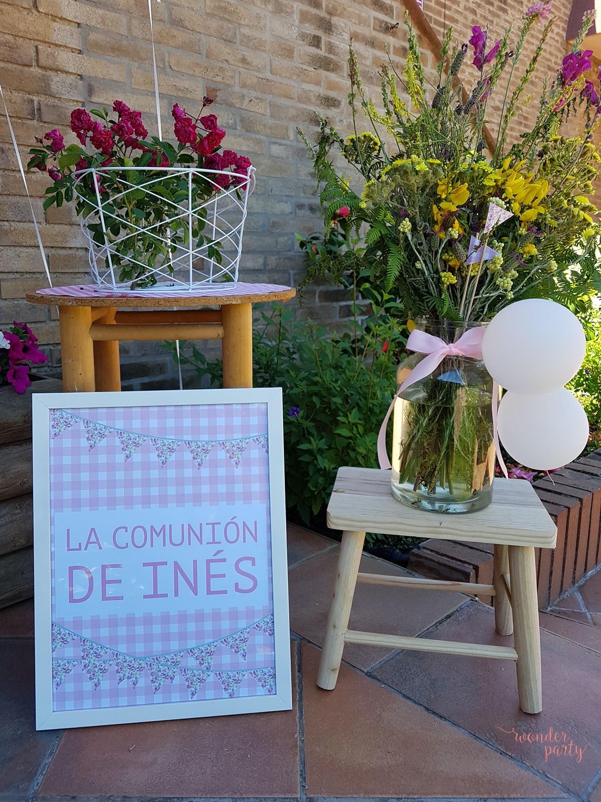 Flores liberty y vichy para la comunión de Inés Wonder PArty Barcelona, oragnixacion de eventos, organizacion de fiestas en barcelona, girona