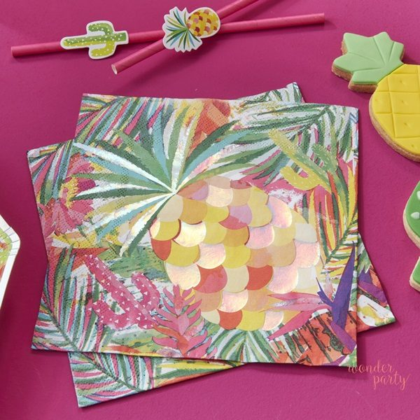Servilletas de papel tropical iridiscentes flamingo piñas para fiestas wonder party bcn