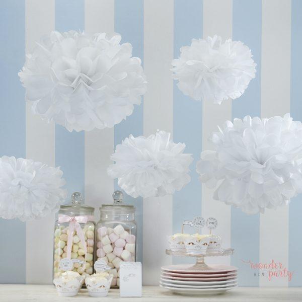 Set de pompones de papel blanco