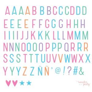 Set de letras lightbox pastel