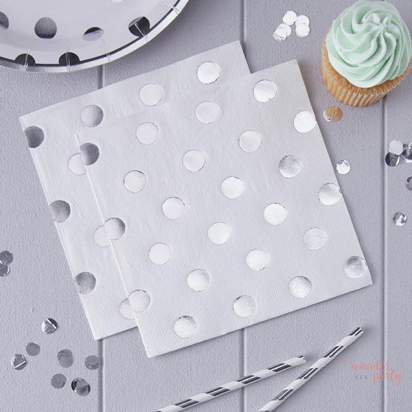 Servilletas de papel lunares plateados plata para fiestas Wonder Party bcn