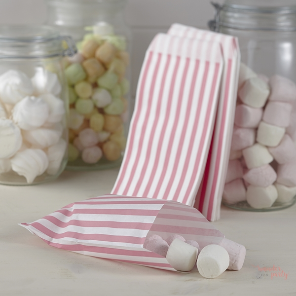 351e10999 Bolsitas para recuerdos y golosinas, chuches rosa y blanca para mesas dulces  wonder party bcn