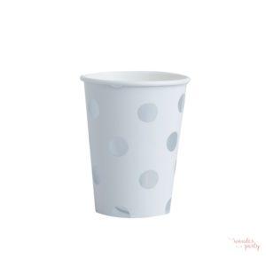 Vasos de papel lunares plateados