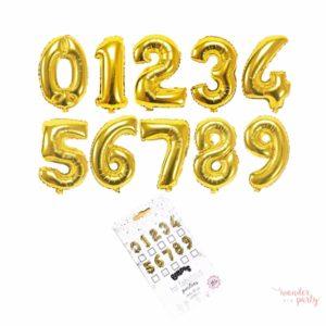 globo gigante de foil número dorado