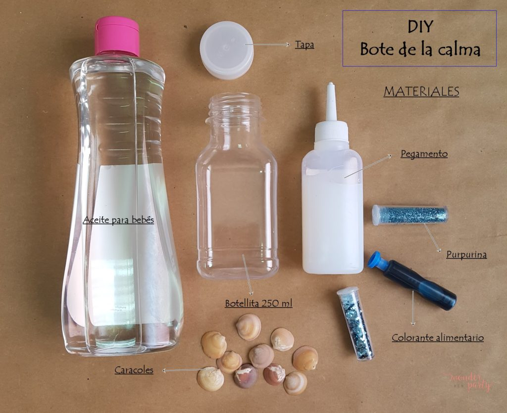 ¿Como hacer un bote o frasco de la calma? DIY O también llamados botellas o botes sensoriales, botellas mágicas o bote mágico. botellas sensoriales para mesa de luz Wonder Party bcn