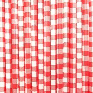 Pajita de papel vichy rojo y blanco