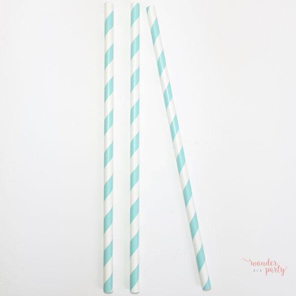 Pajitas verde mint y blanco rayadas ideales para decoracion de fiestas en tonos pastel. Wonder party bcn