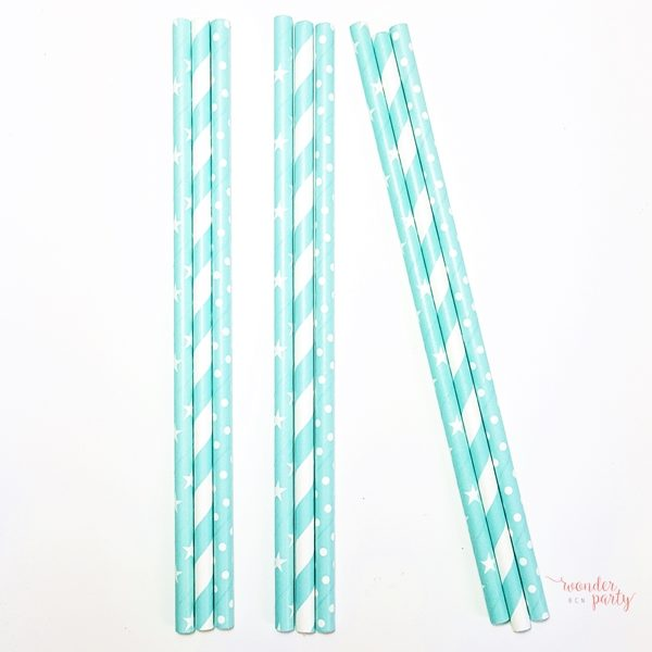 Mix de pajitas verde mint y blanco