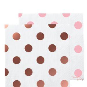 Servilletas de papel oro rosa lunares