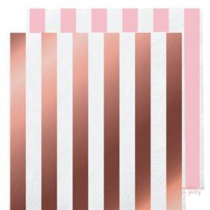 Servilletas de papel oro rosa rayas