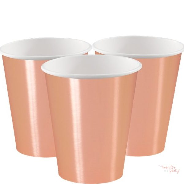 Vasos de papel oro rosa grandes