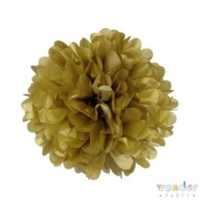 Pompón papel de seda dorado