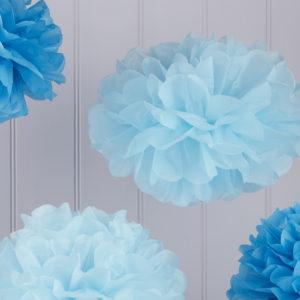 Set de pompones de papel azul y celeste