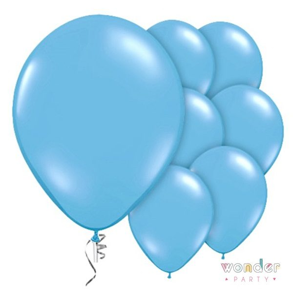 Pack globos látex azul pastel 10 unidades 30 cm