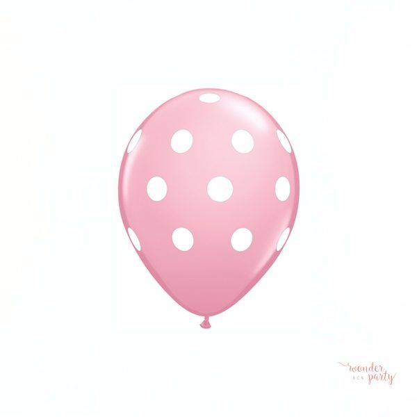 Globos rosa topos lunares blancos pack x 6